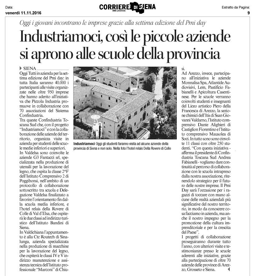 Articolo del Corriere di Siena dedicato al PMIDay organizzato da Confindustria Toscana Sud all'interno del Progetto Industriamoci, che prevede visite in azienda per studenti delle scuole medie inferiori e superiori dei territori di Arezzo, Grosseto e Siena