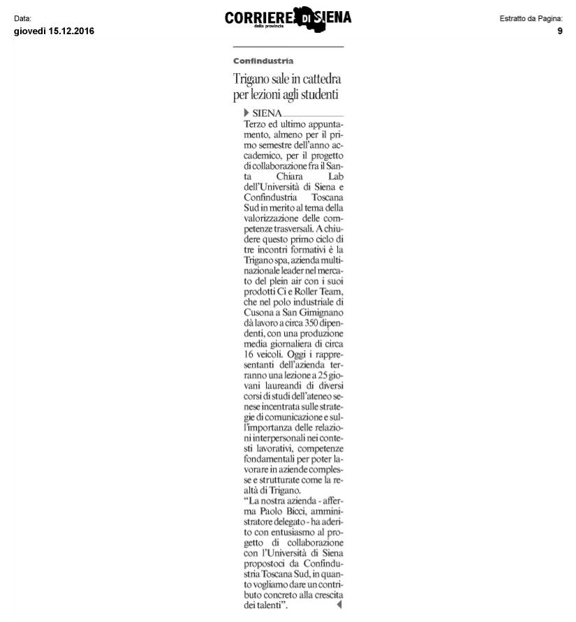 Articolo del Corriere di Siena su Trigano in cattedre all'Università di Siena